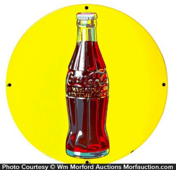 Yellow Porcelain Coca-Cola Sign