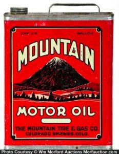 Antique Advertising Mountain Motor Oil Can Antique