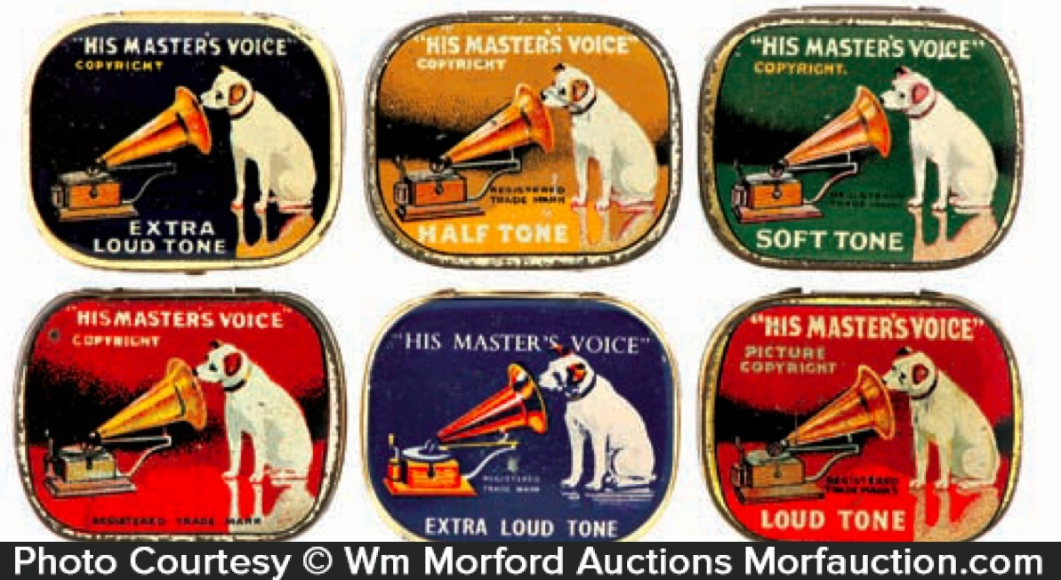 vintage his masters voice record needles tin