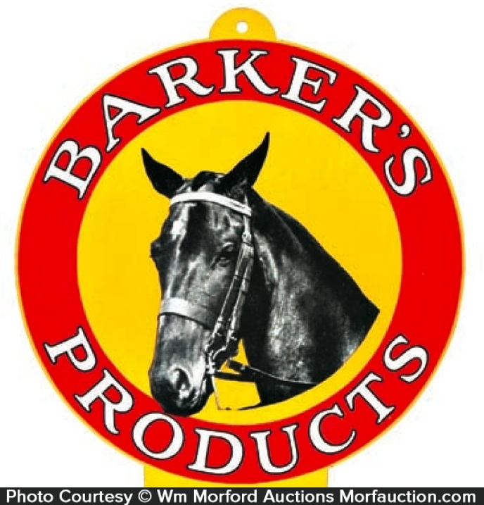 Barker's Products Sign