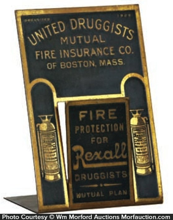 United Druggists Fire Insurance Letter Holder