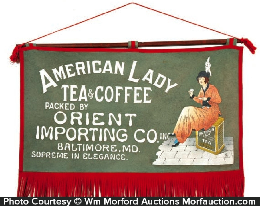 American Lady Tea & Coffee Banner Sign