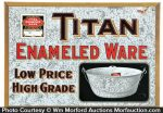 Titan Enameled Ware Sign