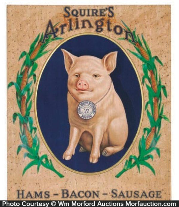 Squires Arlington Hams Pig Sign