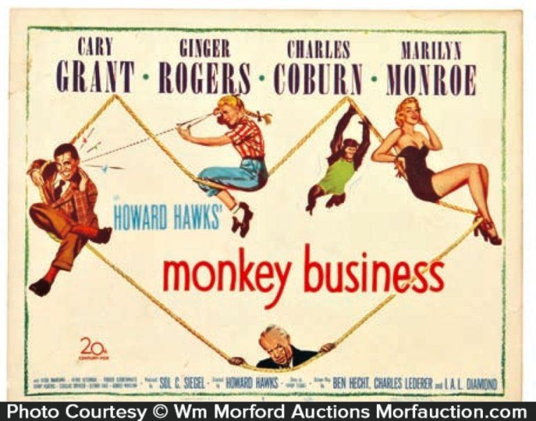 Monkey Business Lobby Card Sign