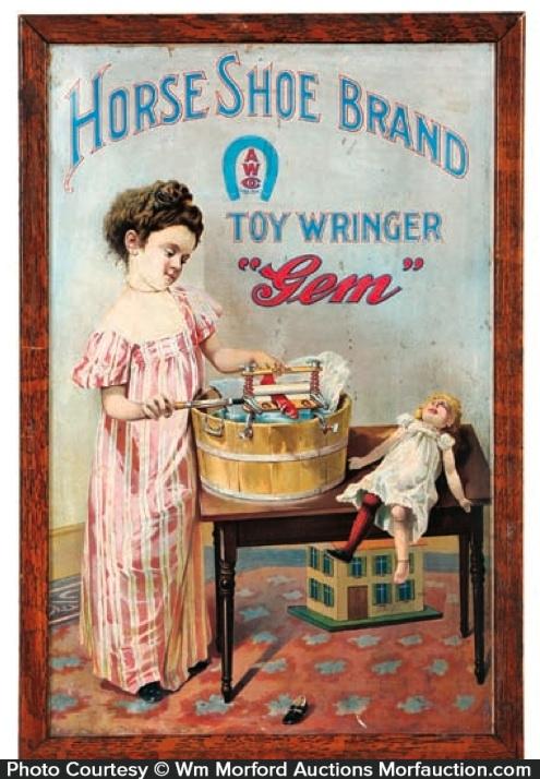 Gem Horse Shoe Toy Wringer Sign