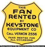 Keystone Equipment Porcelain Shield Sign