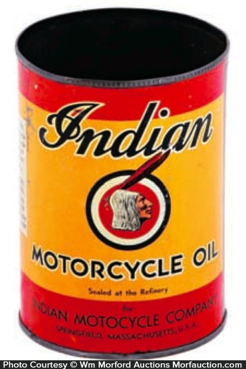 Antique Advertising Indian Motorcycle Oil Can Antique