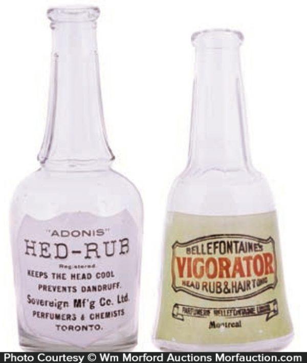 Antique Advertising Vintage Barber Shop Bottles