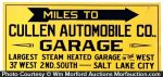 Miles To Cullen Garage Sign