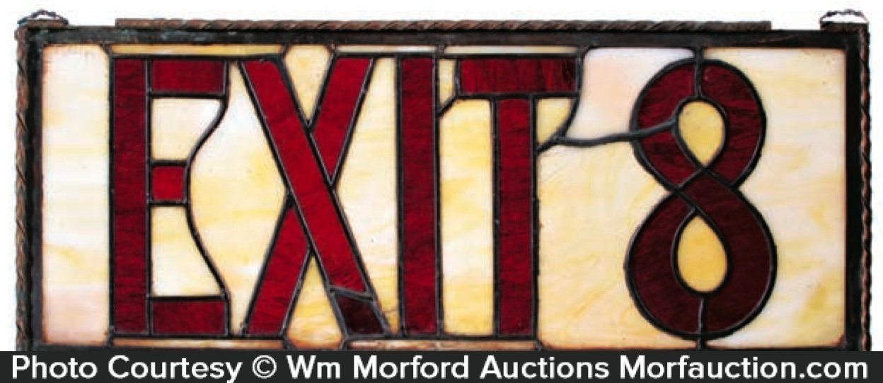 Vintage Stained Glass Exit Sign