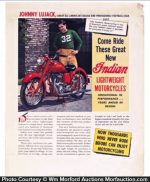 Johnny Lujack Indian Motorcycle Poster