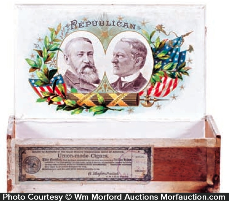 Harrison and Morton Political Cigar Box