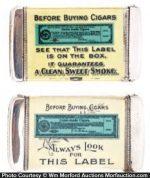 Cigar Maker's Union Match Safes