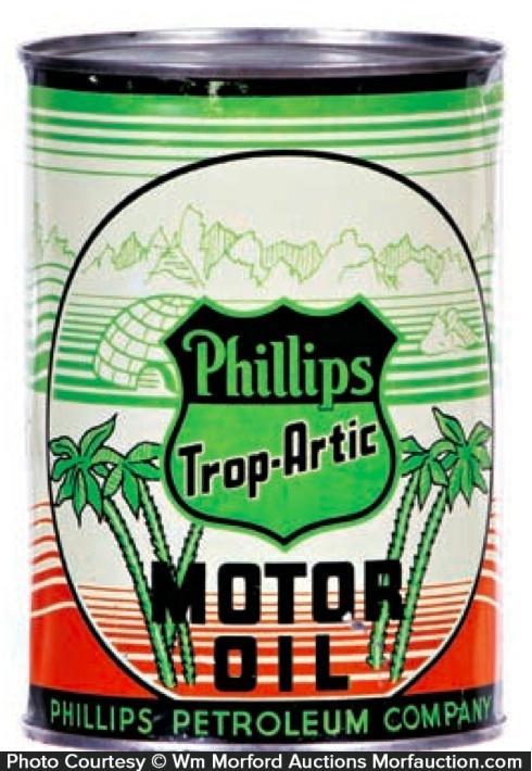 Antique Advertising Phillips Trop Artic Motor Oil Can