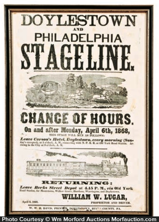 Philadelphia Stageline Broadside Sign