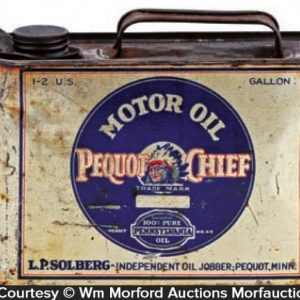 Pequot Chief Motor Oil Can