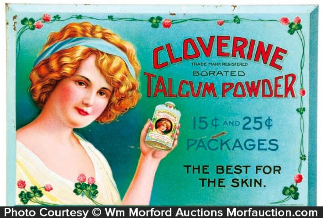 Cloverine Talcum Powder Sign