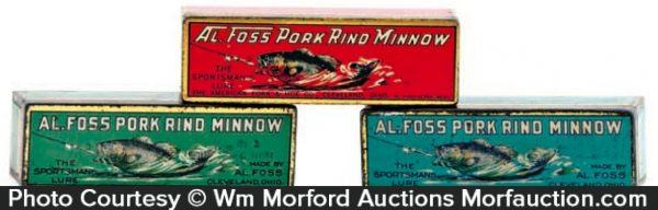 Al Foss Pork Rind Minnow Tins