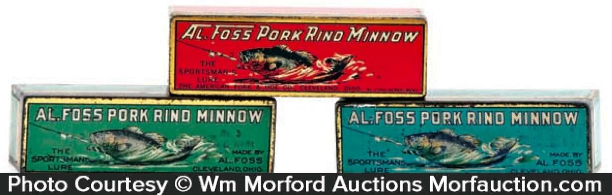 Antique advertising al foss pork rind minnow tins for Pork rind fishing