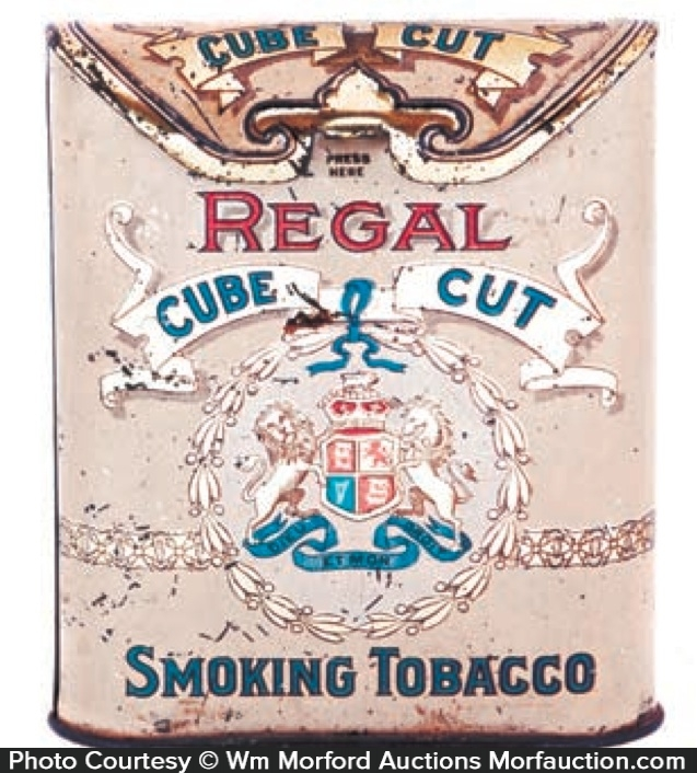 antique advertising regal cube cut tobacco tin antique. Black Bedroom Furniture Sets. Home Design Ideas