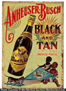 Antique Advertising Anheuser Busch Black And Tan Sign