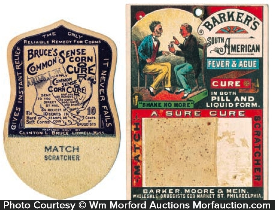 Vintage Medical Cures Match Scratchers