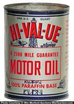 Hi-Val-Ue Motor Oil Can
