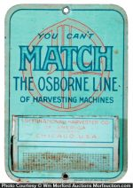 Osborne Harvesting Machine Match Holder