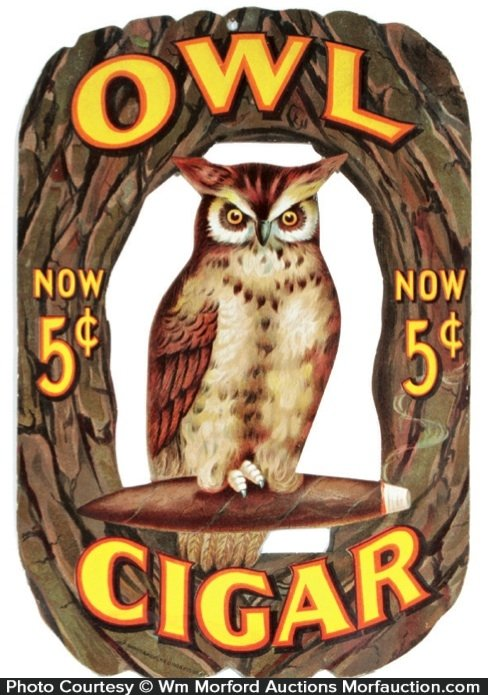 Owl Cigar Sign • Antique Advertising