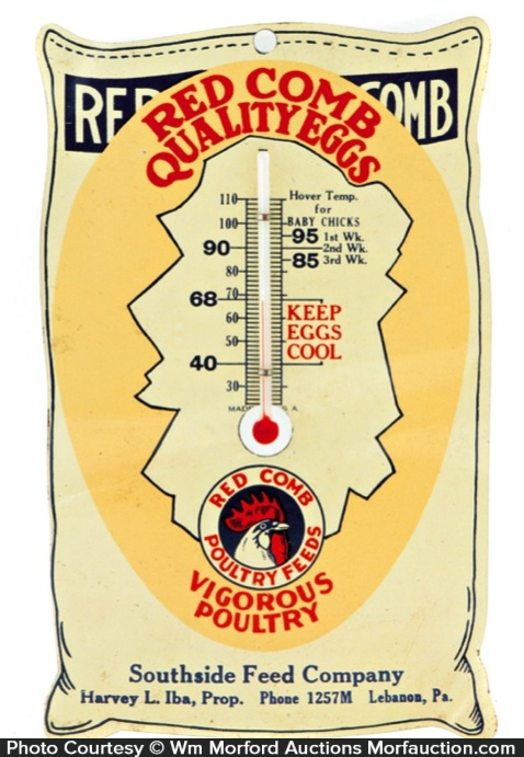 Red Comb Poultry Feeds Thermometer