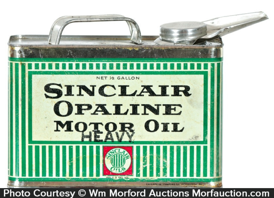 Antique Advertising | Sinclair Opaline Motor Oil Can • Antique Advertising