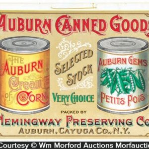 Auburn Canned Vegetables Sign