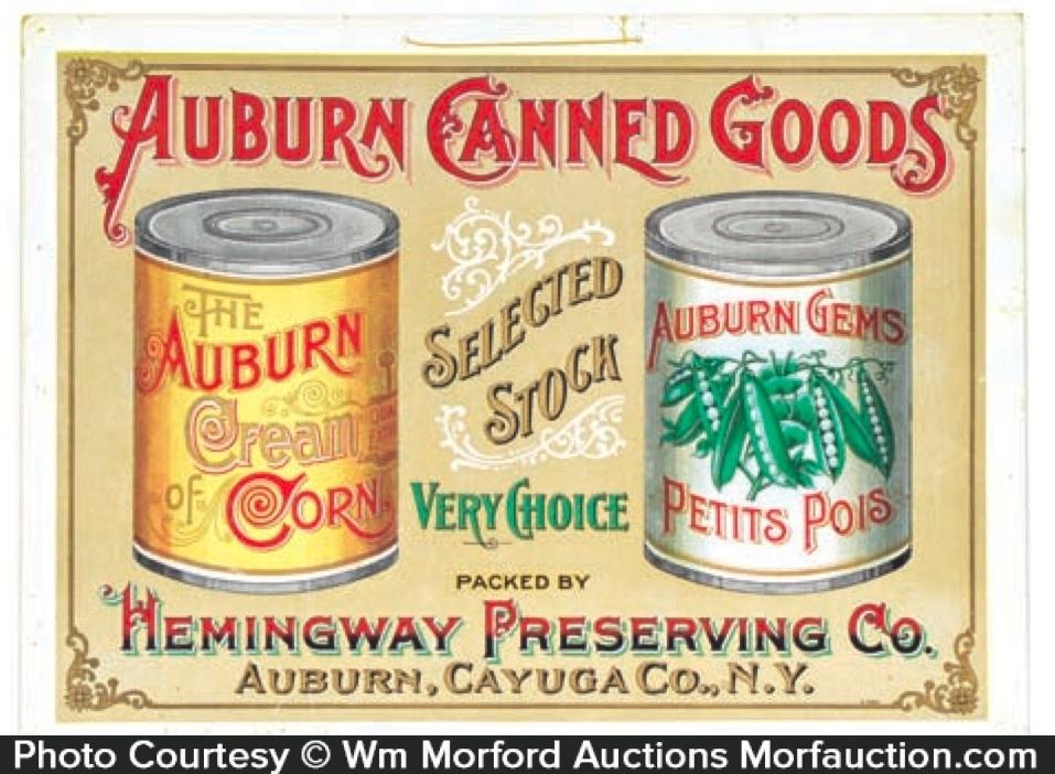 Auburn Canned Vegetables Sign