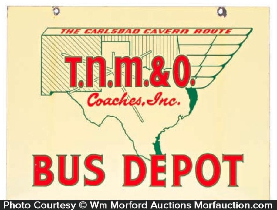 T.N.M. & O. Bus Depot Sign