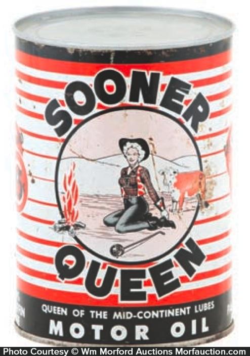 Sooner Queen Motor Oil Can