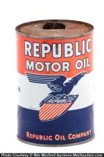 Republic Motor Oil Can