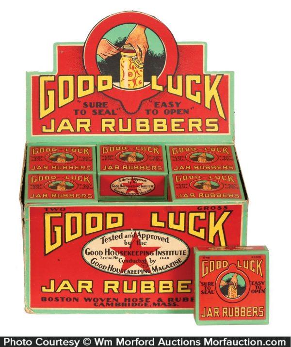 Good Luck Jar Rubbers Display
