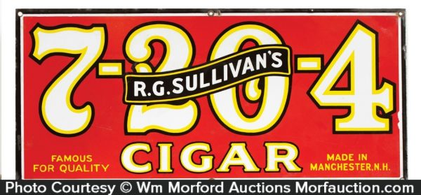 Sullivan's 7-20-4 Cigars Sign