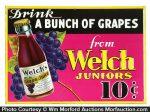 Welch Juniors Grape Juice Sign