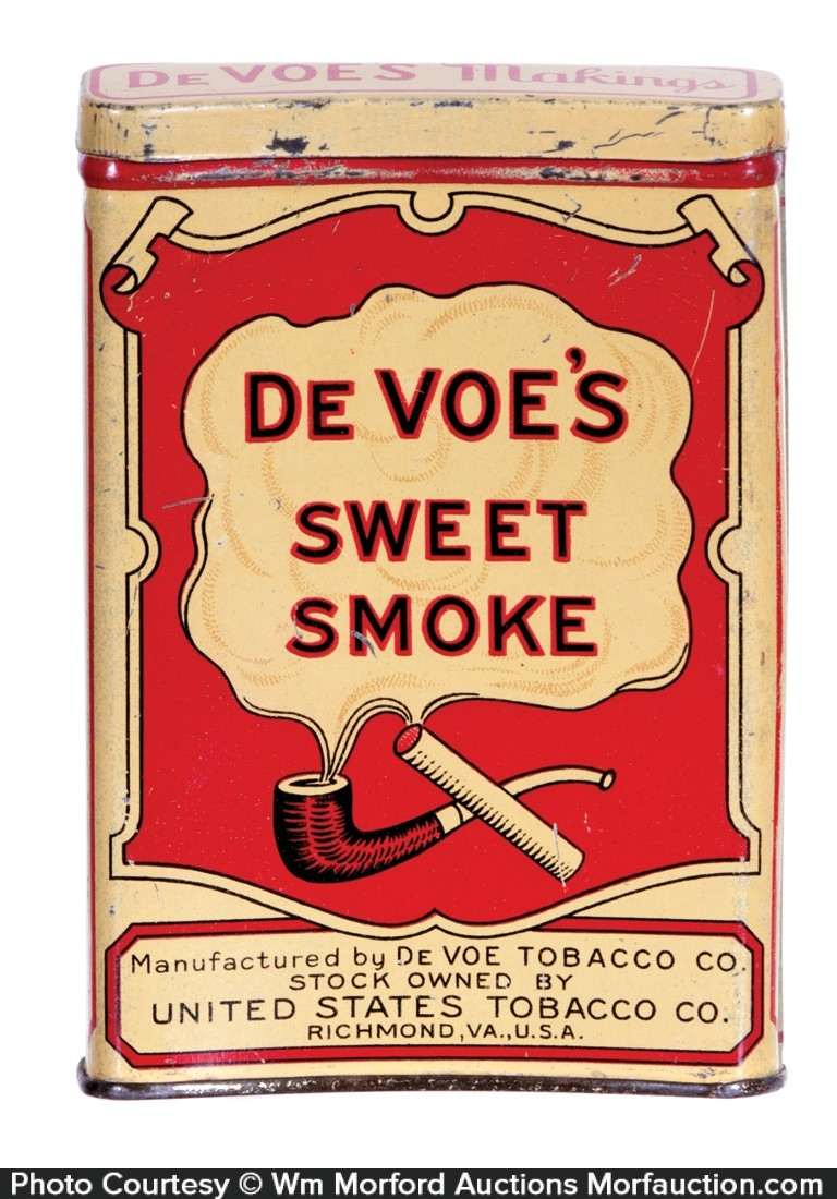 De Voe's Sweet Smoke Tobacco Tin