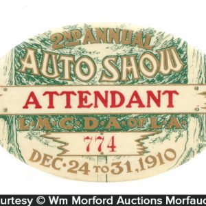 1910 Los Angeles Auto Show Badge