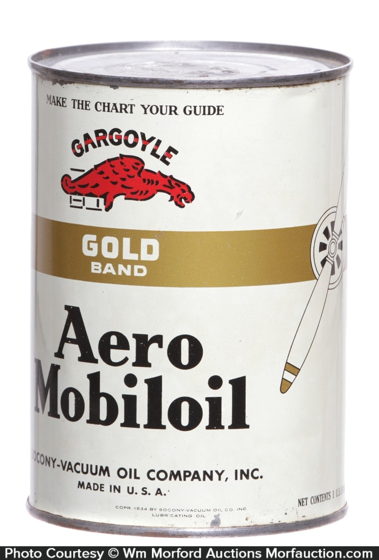 Gargoyle Gold Band Aero Mobiloil Can