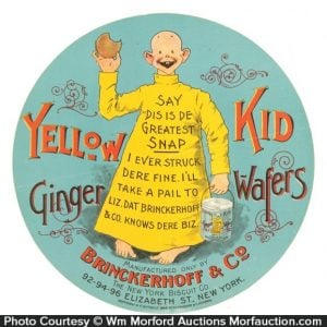 Yellow Kid Ginger Wafers Label