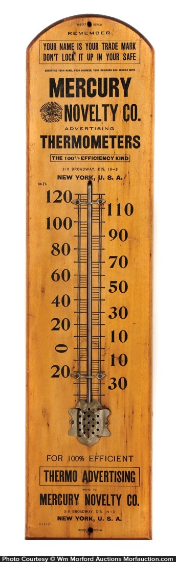 Mercury Novelty Company Thermometer