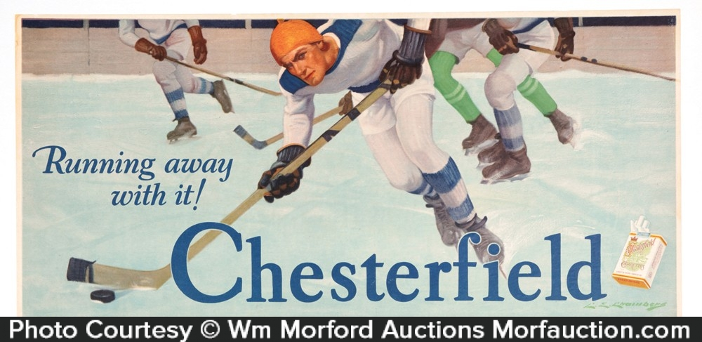 Chesterfield Cigarettes Hockey Sign