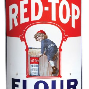 Red-Top Flour Curved Porcelain Sign