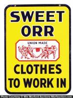 Sweet-Orr Porcelain Sign