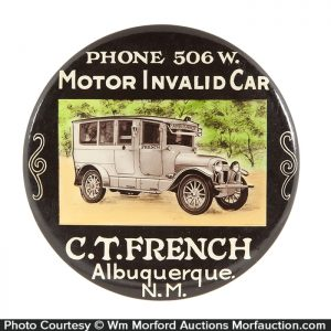 French Invalid Car Paperweight Mirror