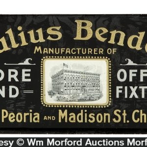 Julius Bender Fixtures Reverse Glass Sign